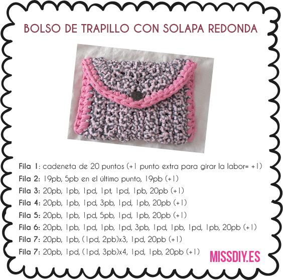 Bolso de trapillo con solapa redonda - MissDIY