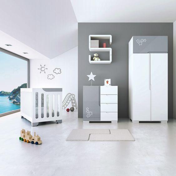 Habitaciones de beb en color gris decoraci n - Color pared habitacion bebe ...