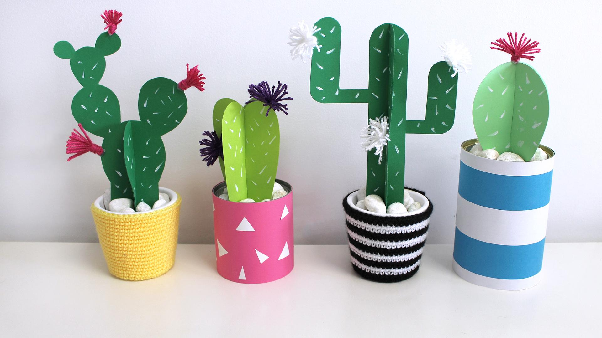Cactus de papel missdiy - Manualidades de papel para decorar ...