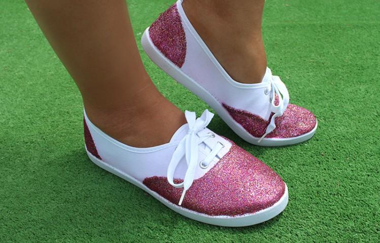 zapatillas con purpurina diy