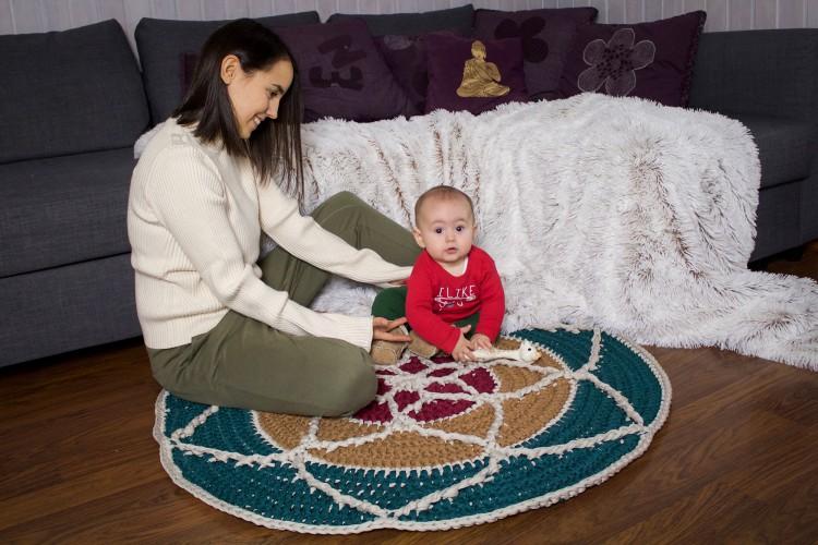 alfombra mandala de trapillo