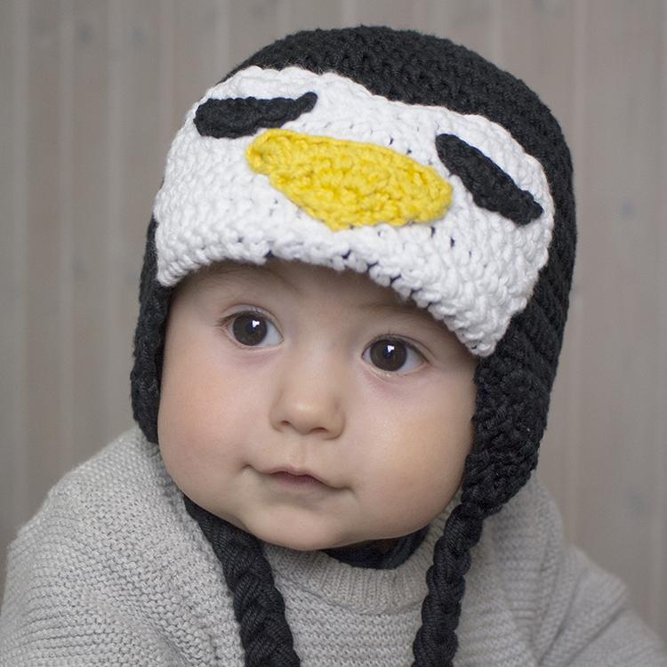gorro pingüino de crochet